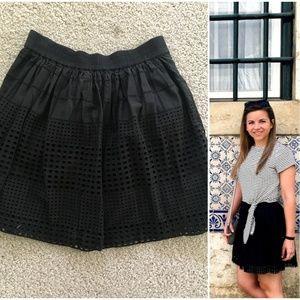 Madewell Beachhouse Black Eyelet Mini Skirt